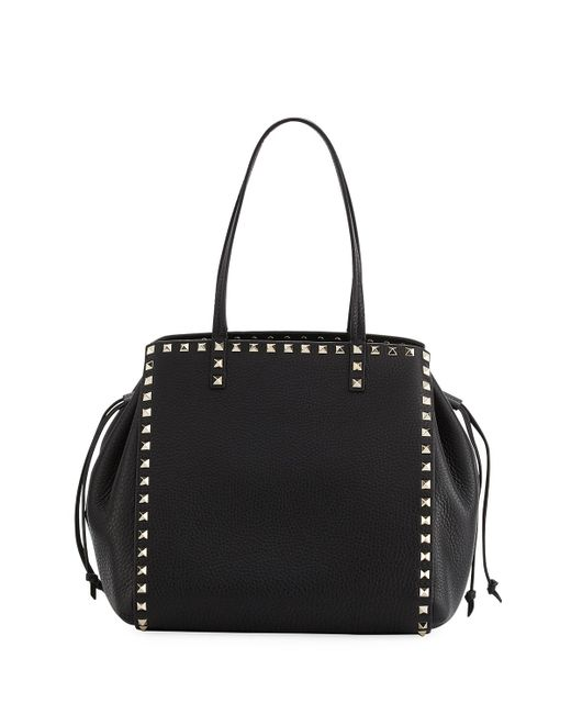 Valentino | Black Rockstud Double Handle Tote Bag | Lyst