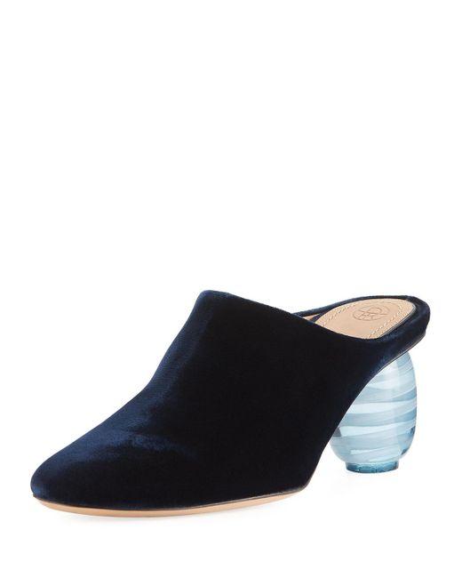 The Row | Blue Adela Velvet Mule Pump | Lyst