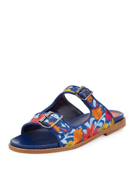 Manolo Blahnik | Blue Sturluspla Embroidered Slide Sandal | Lyst