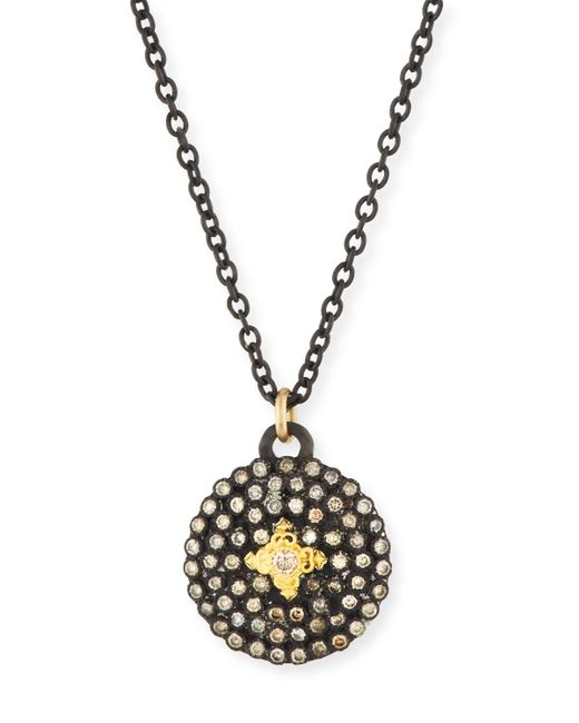 Armenta | Metallic Old World Midnight Small Round Shield Pendant Necklace | Lyst