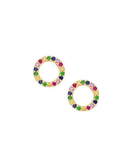 Lana Jewelry   Metallic Girls' Mini Circle Rainbow Sapphire Earrings   Lyst