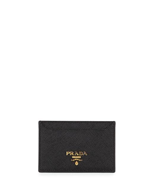 Prada | Metallic Saffiano Card Holder | Lyst