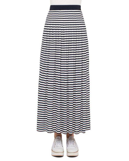 Akris Punto   Blue Striped Pleated Maxi Skirt   Lyst