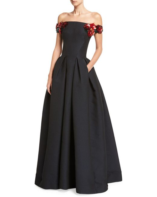 Zac Posen   Blue Off-the-shoulder Gown With Floral Embellishments   Lyst