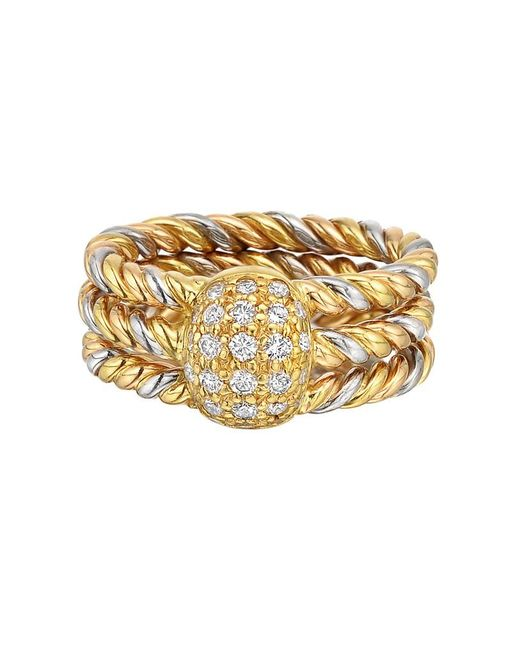 Cartier - Metallic 18k Tricolored Gold Rope Twist & Diamond Dome Ring - Lyst