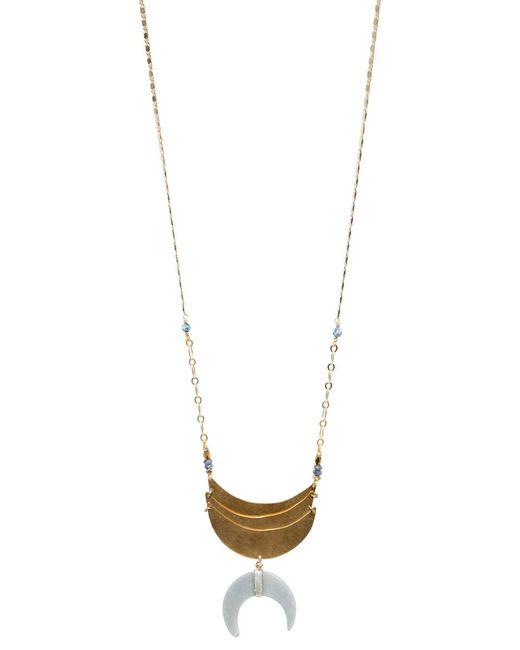 bevello - Gray Half Moon Pendant Necklace - Lyst
