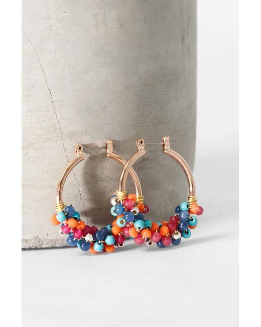 bevello - Multicolor Mini Pom Hoops - Lyst