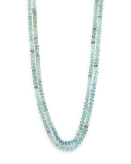 Lena Skadegard | Multicolor Moss Aquamarine & 18k Yellow Gold Long Beaded Strand Necklace | Lyst