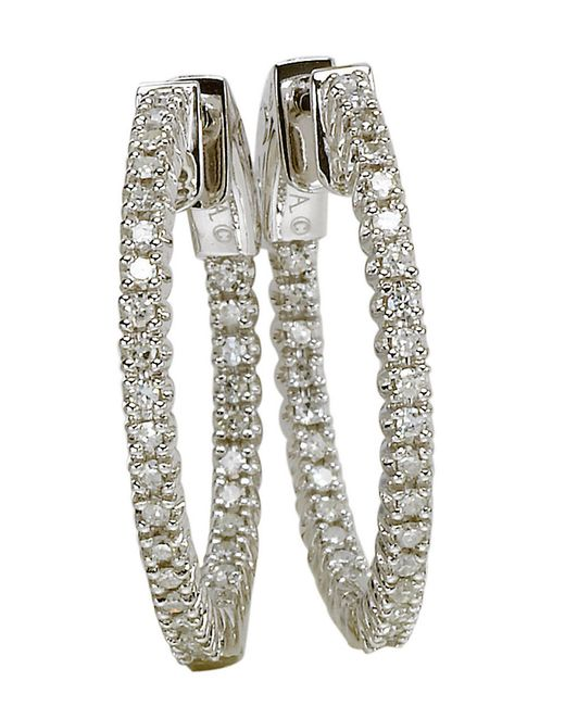 Lord & taylor 14 Kt White Gold And 2.0 Ct T W Diamond Hoop ...