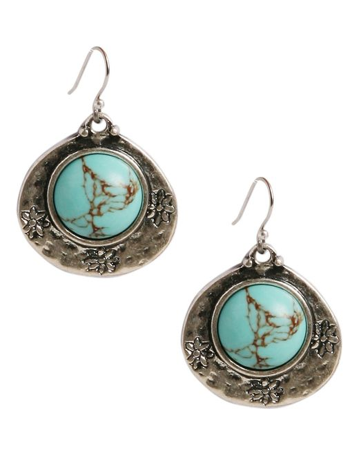 Lucky Brand | Metallic Semi-precious Turquoise Drop Earrings | Lyst