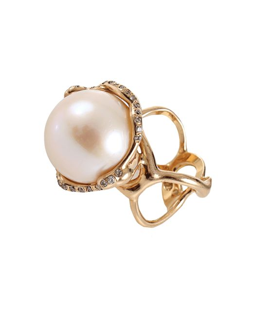 Lucifer Vir Honestus | White Fresh Water Pearl And Diamond Cocktail Ring | Lyst