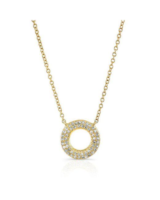 Anne Sisteron | Metallic 14kt Yellow Gold Diamond Open Circle Necklace | Lyst