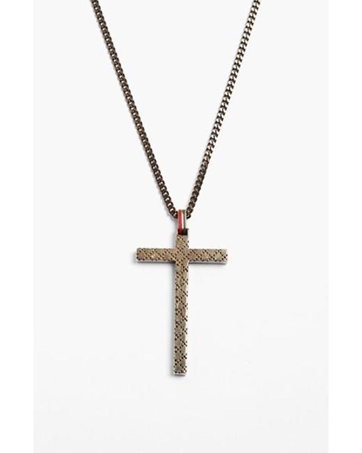 Gucci | Metallic 'diamantissima' Cross Necklace for Men | Lyst