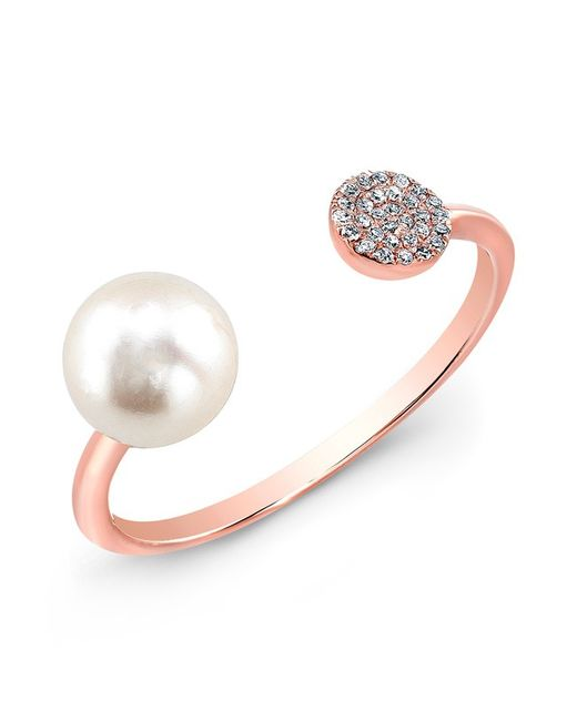 Anne Sisteron | Pink 14kt Rose Gold Christina Pearl Diamond Disc Ring | Lyst