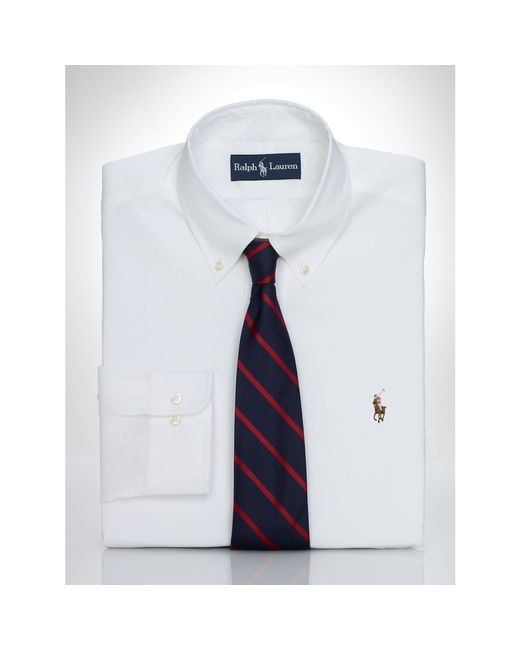 Pink pony pinpoint oxford dress shirt in white for men lyst for Mens pinpoint dress shirts