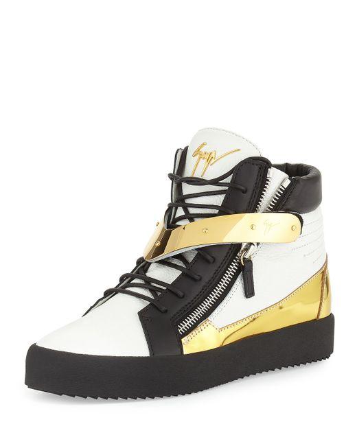 Giuseppe Zanotti Mens Tricolor Leather High Top Sneaker In