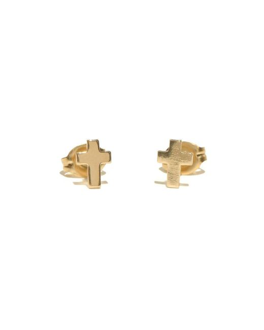 Bing Bang - Yellow Tiny Cross Studs - Lyst