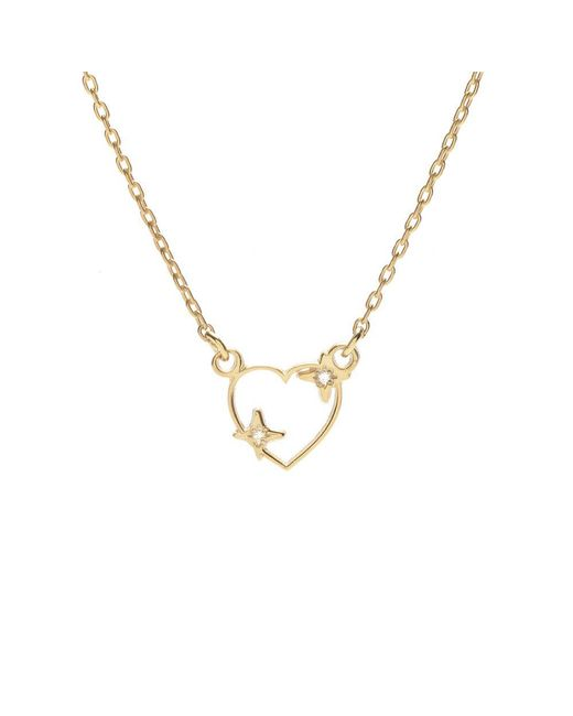 Bing Bang | Metallic Sparkle Heart Necklace | Lyst