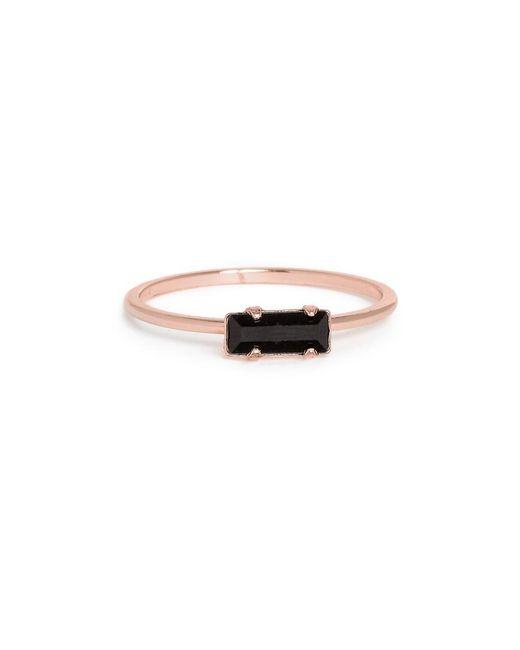Bing Bang - Black Tiny Baguette Ring - Lyst