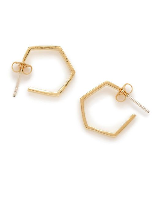 Bing Bang | Metallic Little Hexagon Hoops | Lyst