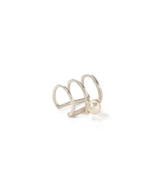 Bing Bang - Metallic Delicate Caged Pearl Ear Cuff - Lyst