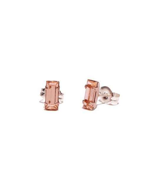 Bing Bang - Pink Tiny Baguette Studs - Lyst