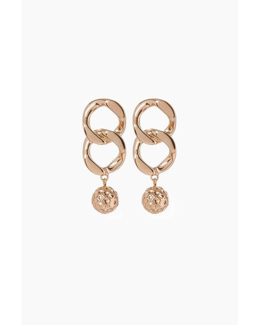 Luv Aj - Metallic The Chain Link Hammered Ball Drop Earrings - Rose Gold - Lyst
