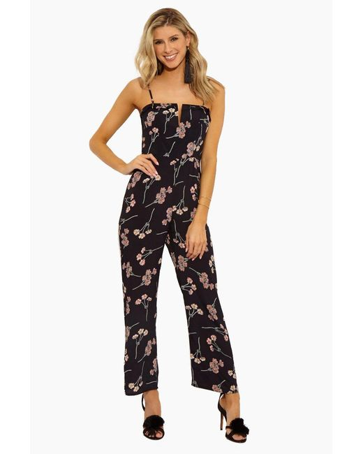 598707693a49 Flynn Skye - Parker Plunging V Wire Jumpsuit - Black Cherry Blossom - Lyst  ...