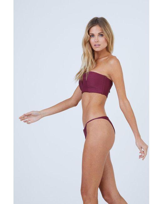 ba77f4c1148 ... Onia - Purple Rochelle Thin Side Strap Bikini Bottom - Maroon - Lyst ...