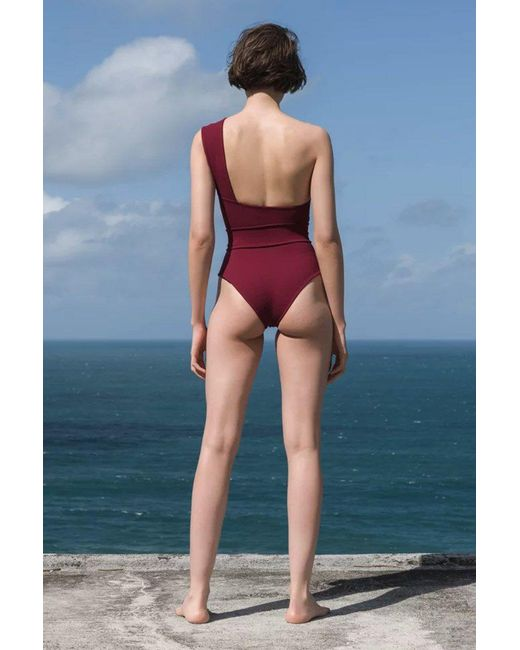 dbb30c3ef6 ... Haight - Maria One Shoulder One Piece Swimsuit - Garnet Red - Lyst ...