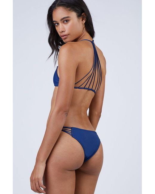 Mikoh Swimwear Lanai Strappy Cheeky Bikini Bottom - Coastal Blue