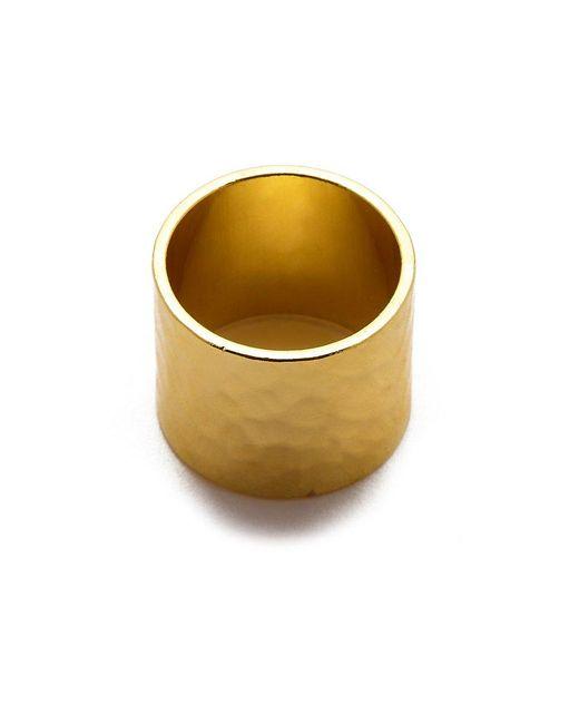 Eklexic - Metallic Gold Hammered Cigar Band Ring - Lyst