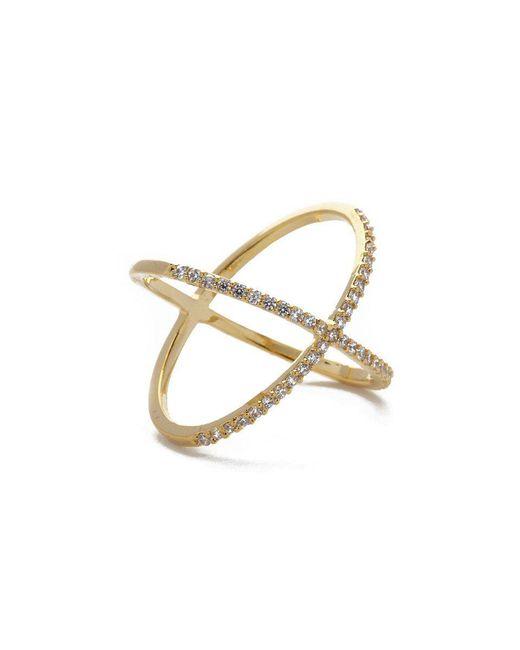 JEWEL CULT - Metallic Pave Crystal X Cross Ring - Lyst