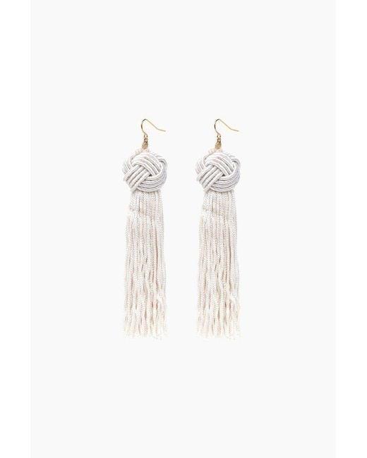 Vanessa Mooney - White Ivory Astrid Knotted Tassel Earrings - Lyst