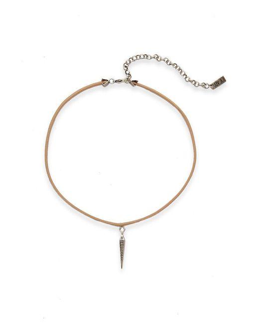 Luv Aj - Metallic Leather Wrap Charm Choker - Blush/silver - Lyst