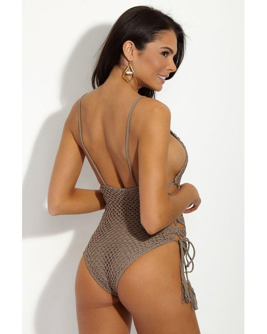 ebc9a7af56c ... Acacia Swimwear - Gray Florence Crochet Lace Up Sides One Piece Swimsuit  - Cement Grey ...