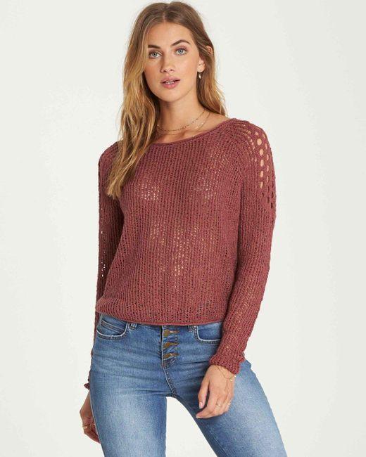 Billabong - Red Sea Ya Soon Open Knit Sweater - Lyst