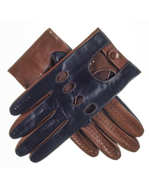 Black.co.uk - Multicolor Navy And Tobacco Italian Leather Driving Gloves for Men - Lyst