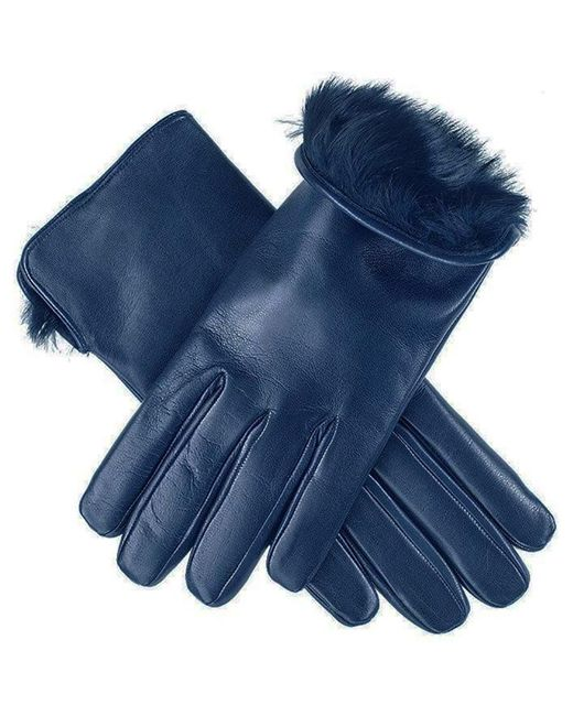 Black.co.uk | Ladies Navy Blue Rabbit Fur Lined Leather Gloves | Lyst