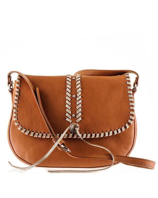 Black.co.uk - Brown Embellished Tan Calf Leather Messenger Bag - Lyst