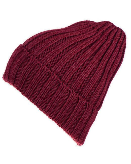 c8313dc117e Lyst - Black.co.uk Burgundy Chunky Rib Knit Cashmere Beanie in Red ...