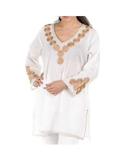 Black.co.uk - White And Gold Embroidered Cotton Kaftan Top - Photography Sample - Lyst