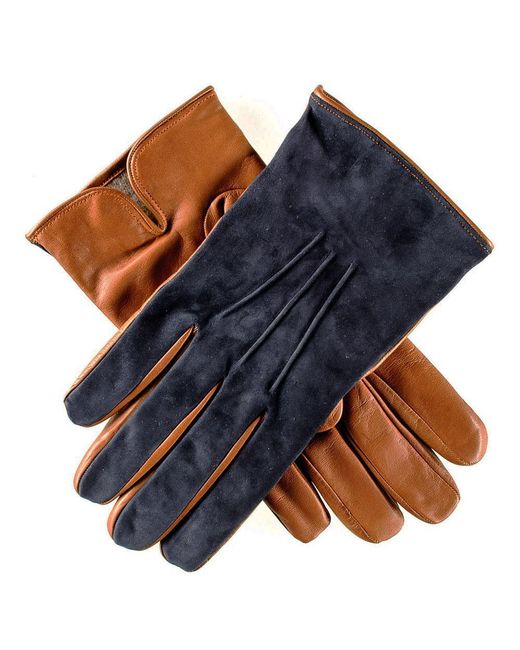 Black.co.uk - Blue Men's Navy Suede And Tan Leather Gloves-cashmere Lined for Men - Lyst