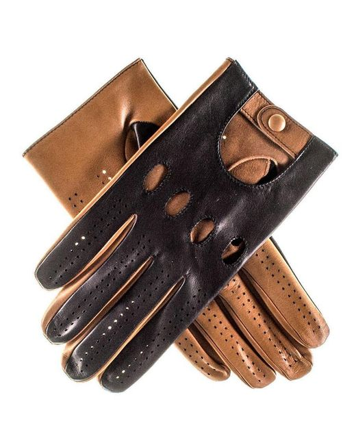 Black.co.uk - Blue Black And Tan Leather Driving Gloves - Lyst