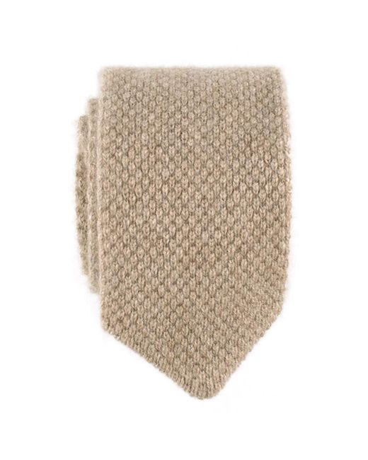 Black.co.uk - Oatmeal Brown Italian Knitted Cashmere Tie for Men - Lyst