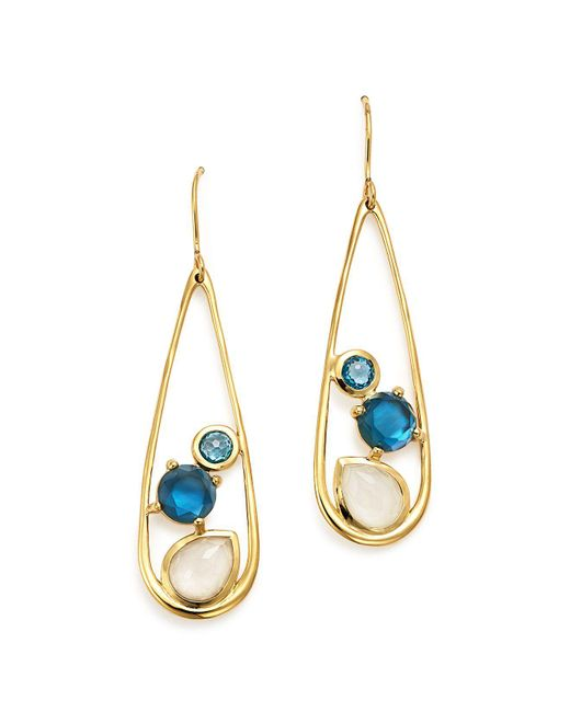 Ippolita   Metallic 18k Yellow Gold Rock Candy® Multi Stone Doublet Drop Earrings In Raindrop   Lyst