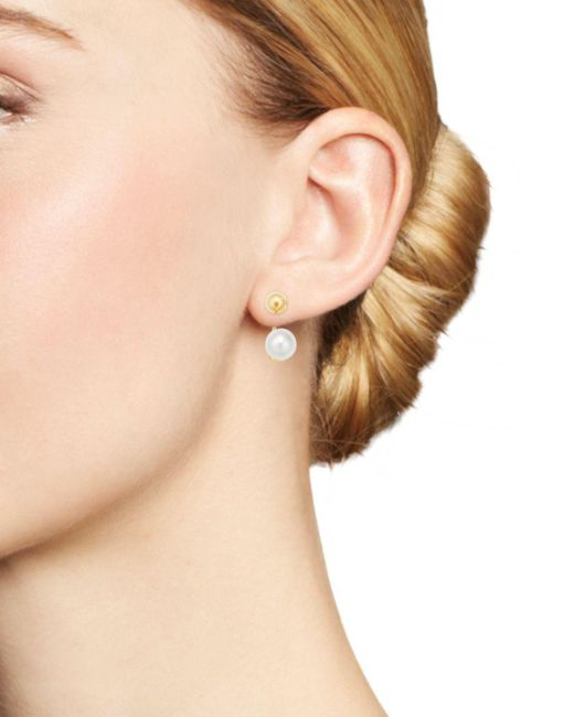 14d0ba811 ... Mateo - Metallic 14k Yellow Gold Cultured Freshwater Pearl & Ball Stud  Ear Jackets - Lyst