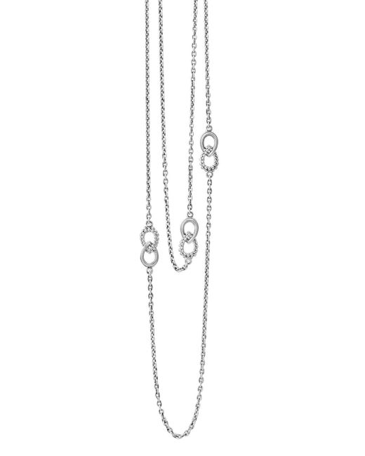 Lagos - Metallic Sterling Silver Signature Caviar Fluted Station Necklace - Lyst