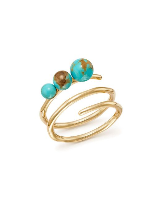 Ippolita - Metallic 18k Yellow Gold Nova Turquoise Spiral Ring - Lyst