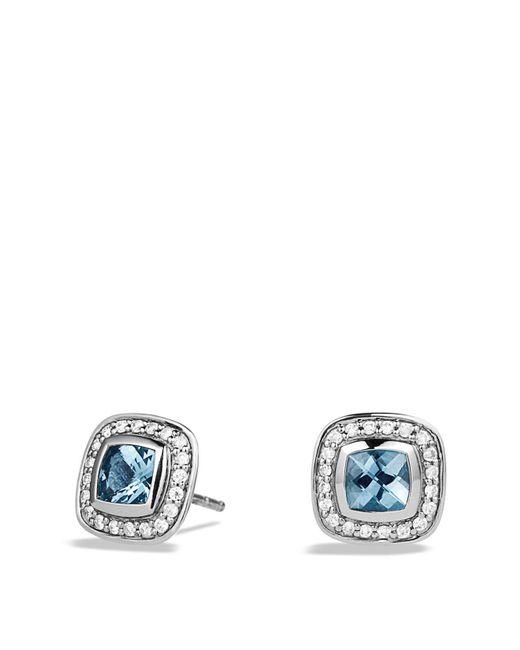 David Yurman - Metallic Petite Albion Earrings With Blue Topaz And Diamonds - Lyst